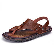 Men's Slippers & Flip-Flops Toe Ring Leatherette Spring Summer Casual Khaki Blue Brown Flat