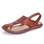 Men's Slippers & Flip-Flops Comfort Light Soles Leatherette Spring Summer Casual Khaki Blue Brown Flat