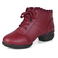 """מותאם אישית נשים סניקרס לריקוד דמוי עור עקבים נעלי ספורט אימון חלק עליון מתחרה עקב עבה אדום מתחת ל2.5 ס""""מ"""