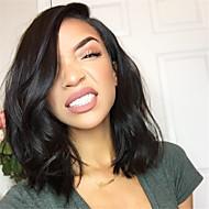 Női Emberi hajból készült parókák Emberi haj Csipke Csipke korona, szőtt 130% Sűrűség Hullámos Paróka Fekete Rövid Közepes Természetes