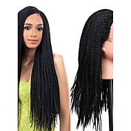Vrouw Lang Zwart Haar Natuurlijke haarlijn Gevlochten Pruik Afrikaanse Braids Synthetisch haar Kanten Voorkant Natuurlijke pruik
