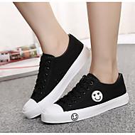 Damen Flache Schuhe Leinwand Frühling Weiß Schwarz Blau Flach