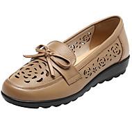 Dame Flate sko Komfort Lær Vår Avslappet Komfort Svart Brun Mandel Flat