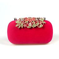 Ženy Večerní kabelka Jiná kůže Samet Celý rok Svatební Narozeniny Večírek Ležérní Podium Formální Rande Party Štras Květiny Zacvakávací