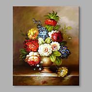 מצויר ביד פרחוני/בוטני אנכי,פרח רטרו פנל אחד בד ציור שמן צבוע-Hang For קישוט הבית