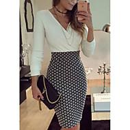 Kadın Dışarı Çıkma Günlük/Sade Kılıf Elbise Solid,Uzun Kollu V Yaka Mini Polyester Yaz Normal Bel Mikro-Esnek Orta
