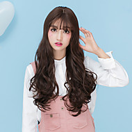 Cheap Women Synthetic Wigs Long Dark Chestnut Brown Grey Body Wave Middle Part With Bangs Halloween Lolita Wig
