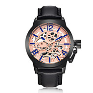 Men's Fashion Watch Mechanical Watch Automatic self-winding Water Resistant / Water Proof Noctilucent Leather Band Black Brown