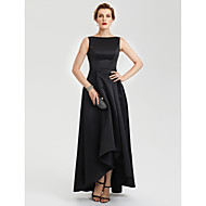 A-Şekilli Kayık Yaka Asimetrik Saten Gece Partisi Resmi Elbise ile Pileler tarafından TS Couture®