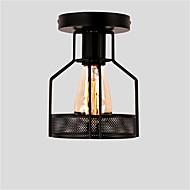 Vintage 1-světelné černé kovové klece podkroví stropní lampa proplachovací jídlo jídelna kuchyňské svítidlo