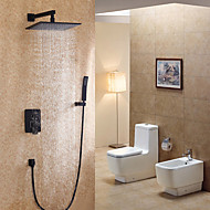 Modern Style Wall Mounted Single Handle  Painting Black  Rainshower Head  Shower Faucet Set with Handshower
