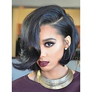 Női Emberi hajból készült parókák Brazil Emberi haj Csipke Csipke korona, szőtt 130% Sűrűség Bob frizura Bretonnal Tincselve Hullámos