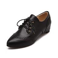 Naiset Oxford-kengät Comfort Uutuus Synteettinen PU Kevät Syksy Häät Kausaliteetti Puku Juhlat Kävely Comfort Uutuus SolmittavatMatala