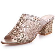 Feminino Chinelos e flip-flops Couro Ecológico Verão Caminhada Lantejoulas Salto Grosso Dourado Prata 5 a 7 cm