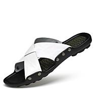 Unissex Chinelos e flip-flops Conforto Pele Primavera Verão Social Tênis Anfíbio Conforto Branco Preto Castanho Claro 2,5 a 4,5 cm
