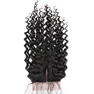 1個中部4x4ブラジルディープカーリーレースクロージャー髪生バージンレミーヘア漂白ノットトップクロージャー