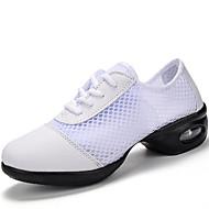 Γυναικείο Παπούτσια Χορού Τούλι PU Τακούνια Εξάσκηση Χαμηλό τακούνι Λευκό Μαύρο Μαύρο-Άσπρο 5-6,8 εκ