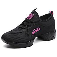 Women's Dance Sneakers Breathable Mesh Sneakers Split Sole Training Cuban Heel White Black Fuchsia