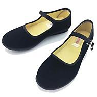 Damen Loafers & Slip-Ons Komfort Mary Jane Stoff Frühling Sommer Normal Komfort Mary Jane Schnalle Flacher Absatz Schwarz Flach