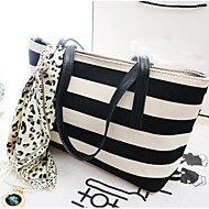 Women Bags All Seasons PU Tote with for Casual Outdoor Black/White