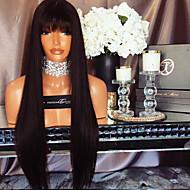 2017 뜨거운 판매 직선 레이스 앞머리와 인간의 머리 가발 130 % 밀도 브라질 처녀 머리 glueless 레이스 가발 여자