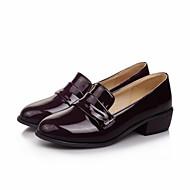 여성 로퍼&슬립-온 글레디에이터 레더렛 가을 캐쥬얼 드레스 글레디에이터 낮은 굽 블랙 그레이 브라운 레드 플랫