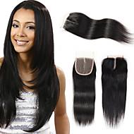Onda recta brasileira 4 * 4 fechamento de renda suíça remy cabelo humano 3 tipo de estilo para beleza cor da senhora 1b