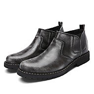 Men's Boots Formal Shoes Cowhide Spring Office & Career Gray Brown Flat