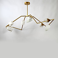 Kahdeksan päätä post modernin metallin kanssa lasi persikka kattokruunu lamppu makuuhuoneen / ruokalaji huone / baari / kahvila koristella
