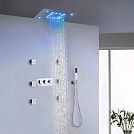 Moderne LED Bruse System Sidespray Regnbruser Håndbruser inkluderet Lys with  Keramik Ventil Tre Håndtag ni huller for  Krom , Brusehaner