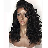 Femme Perruque Naturelles Dentelle Cheveux humains Full Lace Sans Colle Full Lace 130% 180% Densité Ondulation Légère Perruque Noir de