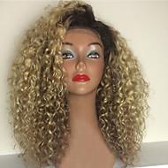 Női Emberi hajból készült parókák Emberi haj Csipke Csipke korona, szőtt 130% Sűrűség Kinky Curly Paróka Strawberry Blonde / Bleach Blonde