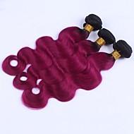 A Ombre Cheveux Péruviens Ondulation naturelle 12 mois 3 Pièces tissages de cheveux
