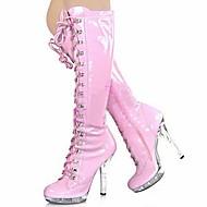 Naiset Bootsit Muotisaappaat PU Talvi Juhlat Solmittavat Piikkikorko Valkoinen Punainen Pinkki 5in tai enemmän
