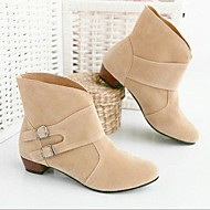 Women's Shoes PU Winter Fashion Boots Boots Flat Heel Booties/Ankle Boots With For Casual Black Beige Brown Red Blushing Pink