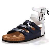 Muške Sandale Udobne cipele Remen oko gležnja Sintetika, mikrofibra, PU Ljeto Kauzalni Zabava i večer Vezanje Ravna potpeticaBijela Braon