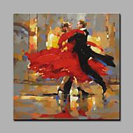 Håndmalte Mennesker Art Deco/Retro Et Panel Lerret Hang malte oljemaleri For Hjem Dekor