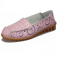 נשים נעליים ללא שרוכים מוקסין אביב סתיו מיקרופייבר PU סינתטי קזו'אל צהוב קפה ירוק ורוד כחול בהיר שטוח