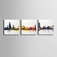 Ručně malované Krajina Abstraktní retro Tři panely Plátno Hang-malované olejomalba For Home dekorace