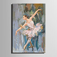 Handgeschilderde Mensen Verticaal,Abstract Eén paneel Canvas Hang-geschilderd olieverfschilderij For Huisdecoratie