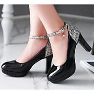 Feminino Sapatos Couro Ecológico Outono Conforto Saltos Com Para Casual Branco Preto Bege Rosa claro