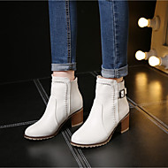 Women's Shoes PU Fall Winter Combat Boots Boots Chunky Heel Booties/Ankle Boots With For Casual White Black Beige Blushing Pink