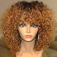 Naisten Aitohiusperuukit verkolla Aidot hiukset Full Lace Liimaton kokoverkko 130% Tiheys Suora Kinky Straight Peruukki Black / Medium