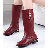Női Csizmák Kényelmes PU Ősz Tél Hétköznapi Fehér Fekete Piros 1 inch-1 3 / 4 inch