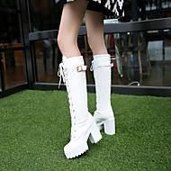 Damen Schuhe PU Herbst Winter Komfort Stiefel Niedriger Absatz Runde Zehe Mit Für Normal Weiß Schwarz