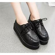 Feminino Sapatos Pele Real Couro Ecológico Primavera Verão Conforto Rasos Para Casual Branco Preto Vermelho