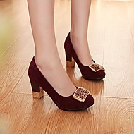 Women's Shoes PU Fall Winter Comfort Heels Chunky Heel Round Toe With For Casual Fuchsia Blue Burgundy