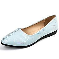 Dame Flate sko Komfort PU Sommer Avslappet Gange Flat hæl Hvit Blå Rosa 5 - 7 cm