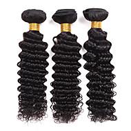 人毛 ブラジリアンヘア 人間の髪編む ディープウェーブ ヘアエクステンション 3個 ブラック