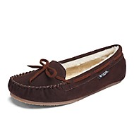 Women's Boat Shoes Fluff Lining Moccasin Comfort Winter Suede Casual Dress Bowknot Flat Heel Brown Flat